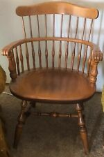 Nichols & Stone Mid Century Maple Windsor Sack Back Bent Wood Knuckle Arm Chair