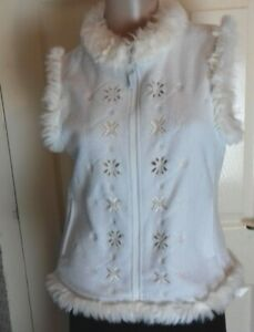 Oasis Size 14 White Fluffy faux fur trimmed Gillet