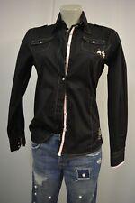L´ARGENTINA Damen  Bluse Hemd L 38 40 Schwarz Textuiert TOP *A825