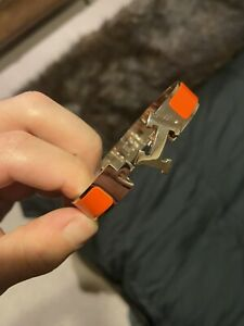 Hermes H Bracelet Orange Gold Cuff