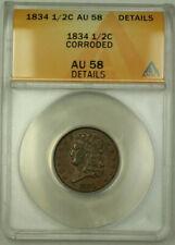 1834 Classic Head Half Cent 1/2c Coin AU-58 Details Corroded GKG