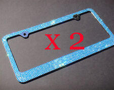 Shining 7 Rows BLUE Bling Crystal Metal License Plate Frame x 2 pack