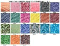 Czech 11/0 Color-Lined Transparent Glass Seed Beads 12-strand Hank 2
