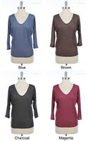 Solid Plain Deep V Neck 3/4 Quarter Dolman Sleeve Top Shirt Blouse Rayon Knit