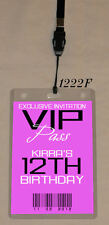 KIDS BIRTHDAY VIP PASS INVITATION & LANYARD- DOUBLE SIDED - ANY AGE