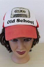 Old School Cassette Tape DISTRESSED Red Baseball Trucker Mesh Cap Hat Snapback
