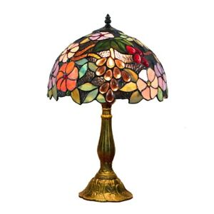 Tiffany Style  Table Desk Lamp  Mediterranean stained glass pastoral grape light
