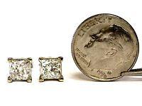 EGL certified 2ct New princess diamond I1 K 14k white gold earrings studs 1.8g