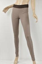 BCBG MAXAZRIA Hazelnut Heather Brown BACK-ZIP PONTE LEGGINGS Zipper Detail M