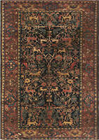 Antique Feraghan Black, Rosewood, Teal and Sandy Beige Rug BB6631