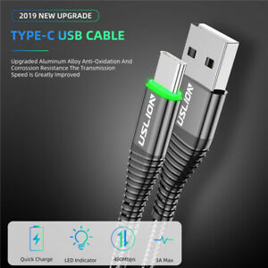 USLION 3A USB Type C Cable Fast Charge Wire for Samsung Xiaomi Huawei Note Data