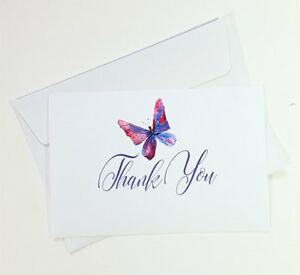 15 Thank You Cards Notes Butterfly Wedding Business Birthday Thankful IN THANK69