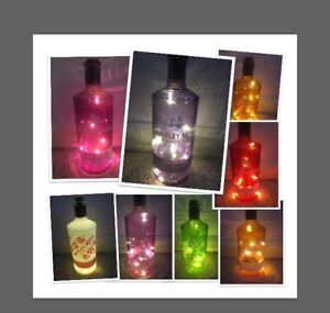 Whitley Neill Gin Bottle Lamp With Battery Power LED String Lights