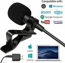 Movo USB Lavalier Computer Microphone for Desktop, Laptop, PC, Mac, Smartphone
