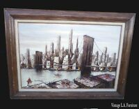 Vintage Mid Century Brooklyn Bridge Picture by H. Duchamp Oil on Canvas Painting
