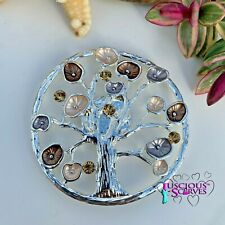 Taupe Mulberry Tree Of Life Design Magnetic Brooch Scarf Pin Clip, Brown ,Cream