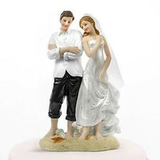 Beach Couple Bride & Groom on Beach Wedding Cake Topper
