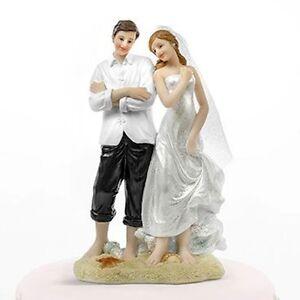 Beach Couple Bride & Groom on Beach Wedding Cake Topper