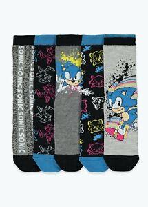 Kids Boys 5 Pack Sonic Socks (Younger 6-Older 6.5)