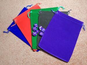 Large Dice Bags 15cm x 20cm Multilisting 11 Colours D&D RPG