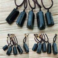 Natural Black Tourmaline Stone Pendant Chakra Necklace Crystal Gem Specimen New
