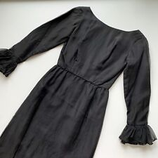 New listing Vintage 50s 60s Cocktail Party Dress Black Xs/S Ruffle Sleeve Trim