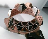 "NWT Kira Chunky Metallic Geometric Bracelet Stretchy Copper Pyramid Brutalist 7"""