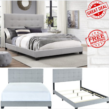 King Queen Full Size Platform Bed Wood Frame Tufted Headboard Gray Upholstered