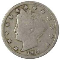 1911 Liberty Head V Nickel 5 Cent Piece VG Very Good 5c US Coin Collectible