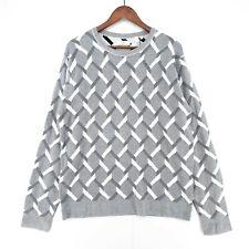 GANT Grey Jacquard Cable Crew Sweater Jumper Size L