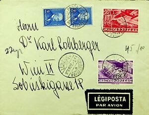 HUNGARY 1936 PRE WWII 4v ON AIRMAIL COVER FROM BUDAPEST TO WIEN AUSTRIA