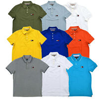 Tommy Hilfiger Mens Polo Shirt Logo Short Sleeves Mesh Classic Custom Slim Logo
