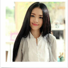 OUJF10337 fine beaugtiful black long mid Hair natural Wig wigs for women