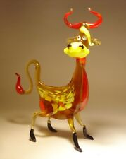 Blown Glass Art Figurine Farm Animal Comic Brown and Red Happy COW Statuettes