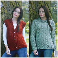KNITTING PATTERN Ladies Cable Waistcoat & Cable Jumper Super Chunky KC 4362