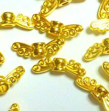 pack of 20) 14 mm Bright Gold Tibetan Silver Guardian Angel Fairy Wings beads