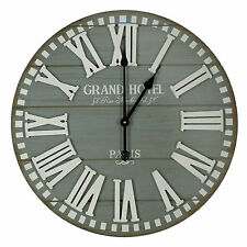 """Large Hometime """"Grand Hotel"""" Round Wooden Wall Clock - Grey"""