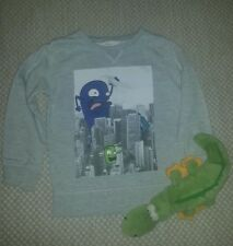 H&M pullover 98 104 Pulli grau mit Motiv Hoodie Sweatshirt Junge Boy