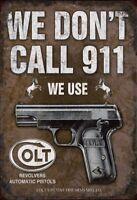 Colt Tournevis Pistolet Panneau Métallique Plaque Voûté Étain Signer 20 X 30 CM