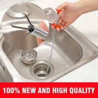 60cm Kitchen Sewer Dredging Device Tools Spring Pipe Sink Cleaning Hook US