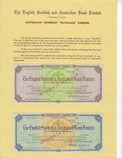 AUSTRALIA ENGLISH SCOTISH AUSTRALIA BANK  SPECIMEN TRAVELERS CHECKS  UNC