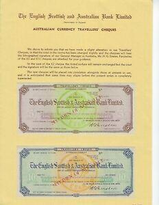 SPECIMEN AUSTRALIA ENGLISH SCOTISH AUSTRALIA BANK  TRAVELERS CHECKS  UNC
