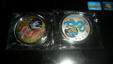 CHINA 2012 DRAGON ZODIAC MEDAL SET OF 2 - GOLD AND SILVER COLORED