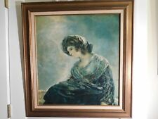 Vintage Portrait of Lady with Coat and Scarf Oil on Canvas