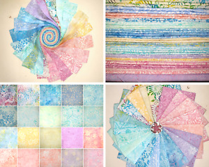 Batik 100% Cotton Jelly Roll Charms Layer Cakes FQ Packs 1/2 Meter Candy Pastels