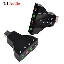 External USB Audio 3D Sound Card 7.1 Channel 4 Port PC Laptop Macbook Adapter