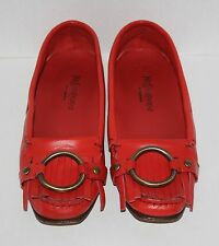 Rare Womens YSL Yves Saint Laurent Red Leather Flats Loafers Size 39 / US 9