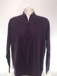 Ashworth 100% Cotton Zip Neck Sweater, BNWT, Plum, Size Medium
