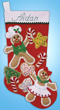 Felt Embroidery Kit Design Works Gingerbread Friends Christmas Stocking #DW5240