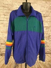 Vtg USA Olympic Color Block Mens Nylon  Windbreaker TRACK Coat Jacket LXT